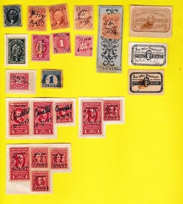 Mixed Lot of 23 US Revenue Proprietary Documentary Exchange Stamps 1862-1950