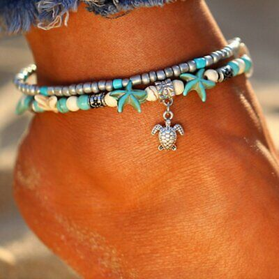 Boho Starfish Turquoise Beads Sea Turtle Anklet Beach Sandal Ankle Bracelet Gift