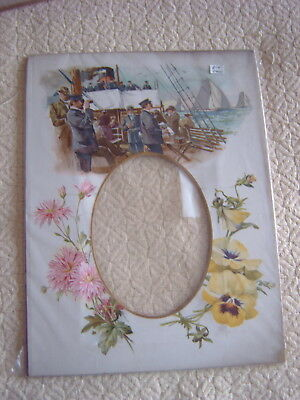 Vintage Pictorial Photograph Mount - Flowers - On Board Steam Ship - Yachts