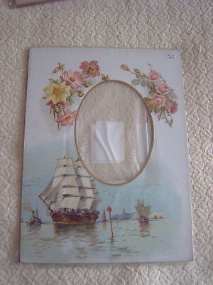 Vintage Pictorial Photograph Mount - Flowers - Sailing Ships - Paddle Steamer
