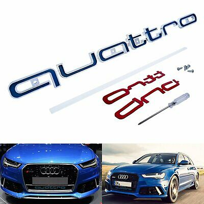 1x Quattro Style Logo Front Grill Badge Emblem Blue For Audi A1 A3 A4 RS5 RS6 TT