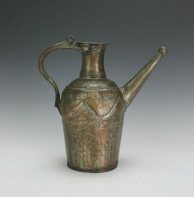 Antique Turkish Middle Eastern Hand Crafted Silver Plate Copper Pitcher Jug SAB