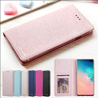 For Samsung S10 S9 Plus Luxury Silk Leather Magnetic Flip Wallet Card Case Cover