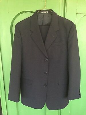 "Mens 34R Nicole Miller Navy Suit Wool/poly Blend Waist & Inseam 29"" Cuffed Trous"