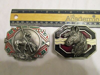 Lot of 2 Vintage Belt Buckles Horse Indian Siskiyou V-80 and F7 Western Cowboy