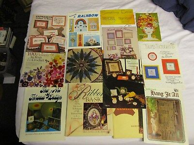 Lot of Vintage Craft Books Macrame Stamping Cross Stitch Knit Crochet Thread