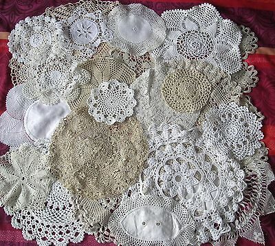 20 x Vintage Doilies MATS CROCHET LACE Job Lot WHITE CREAM COFFEE WEDDING BUNDLE
