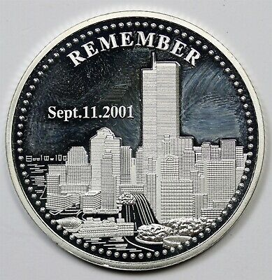 Sept. 11 2001 Twin Towers Remember 1 oz 999 Fine Silver Round