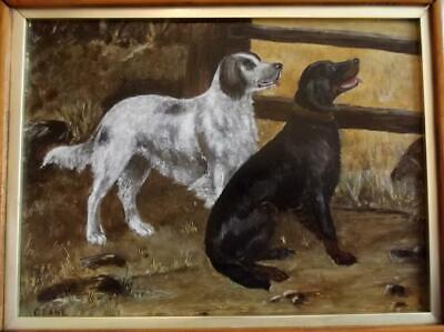 C. LANE Late 19th Century Antique Oil Painting of TWO WORKING DOGS