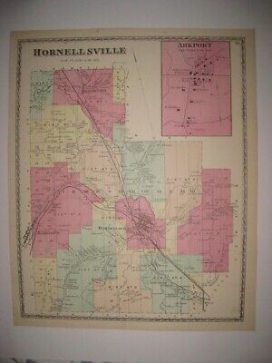 Antique 1873 Hornellsville Arkport Almond Steuben County New York Handcolor Map