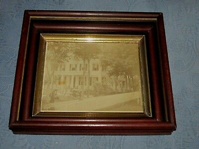Antique Victorian Walnut Deep Well Picture Frame & Family Farm Photo