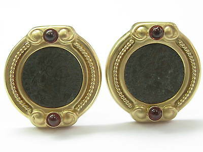 Fine Ancient Coins Garnet Yellow Gold Clip-On Earrings 14KT