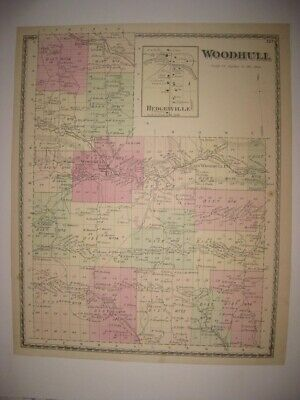 Superb Antique 1873 Woodhull Hedgesville Steuben County New York Handcolored Map
