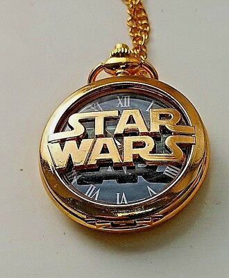 Star Wars Gold Pocket Watch Antique Darth Vader Episode 9 IX Disney with Chain