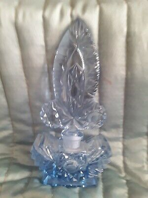 Vintage Czech Decorative Blue Crystal Perfume Bottle