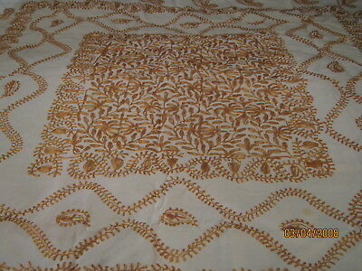 Vintage Cream Linen Tablecloth with Damascus Gold Silk Elaborate Embroidery