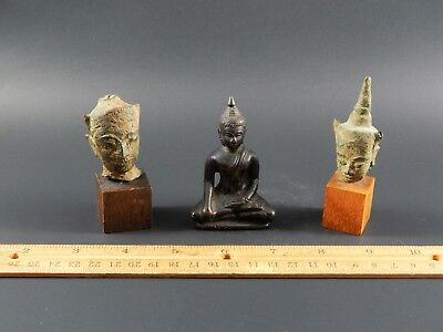 Three Antique Thai Chinese Asian Bronze Buddha Deities Two Fragments One Seated