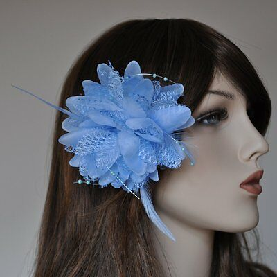 Buttonhole Rose Beads Flower Hair Clip Hair Bands Brooch Feathers Blue