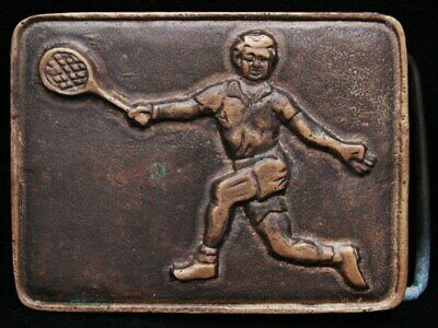 IB01143 FANTASTIC VINTAGE 1970s **TENNIS PLAYER** SOLID BRASS BUCKLE