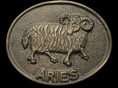 IB15175 AWESOME VINTAGE 1970s ***ARIES*** RAM ASTROLOGY SOLID BRASS BUCKLE