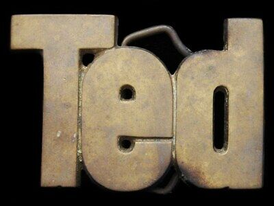 Ie03173 Vintage 1978 Cut-Out Name ***Ted*** Solid Brass Belt Buckle