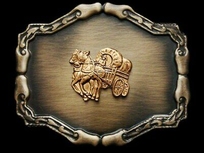 IE05121 VERY COOL VINTAGE 1970s **COVERED WAGON** BELT BUCKLE