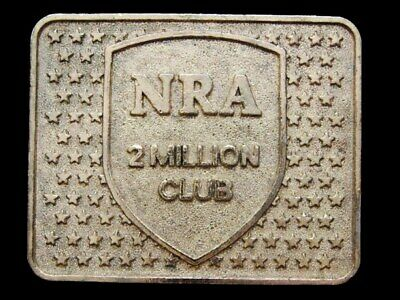 IC01147 VINTAGE 1980s **NRA** 2 MILLION CLUB GOLDTONE BUCKLE