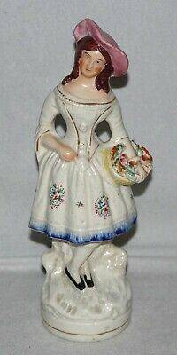 "Antique Staffordshire Girl/Lady with Basket of Flowers 9"" Figure"