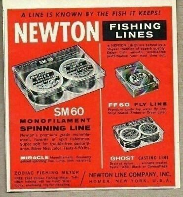 1963 Print Ad Newton Fly & Casting Fishing Lines Made in Homer,New York