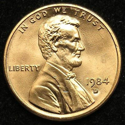 1984 D Uncirculated Lincoln Memorial Cent Penny BU (B03)