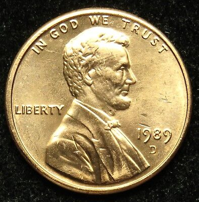 1989 D Uncirculated Lincoln Memorial Cent Penny (B05)