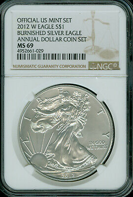 2012-W Silver Eagle Annual Dollar Set Ngc Ms-69 2Nd Finest Registry *