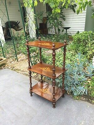 Beautiful Antique Victorian Inlaid Walnut 3-Tier 'What Not' Display Stand!
