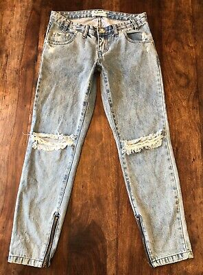 13adc3ae94c One X One Teaspoon Freebirds Destroyed Skinny Crop Ankle Zip Jeans Size 25""