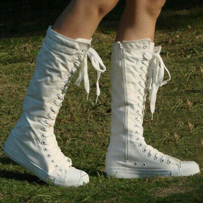 af9c0f8fb11 Punk Womens Canvas Sneakers Tall Mid Calf Lace up Knee High Boots Zip Flat