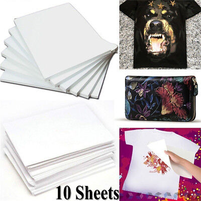 10Pcs A4 Iron On Print Heat Press Transfer Paper Light Fabric T-Shirt Handmade !