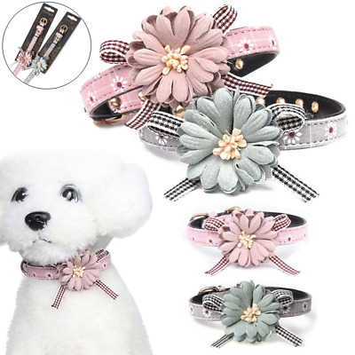UK Adjustable Necklace Flower Bow Tie Dog Cat Leather Collars Puppy Kitten Pet