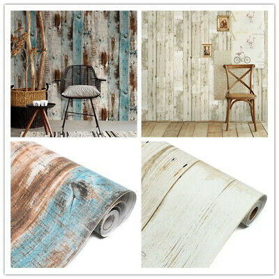 Vinyl 3D Rustic Wood Plank Self Adhesive Wallpaper Furniture Wall Stickers 6m