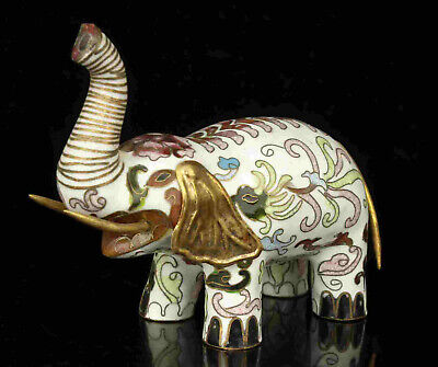 China Old Red Copper Fired Cloisonne Elephant Statue Desktop decoration