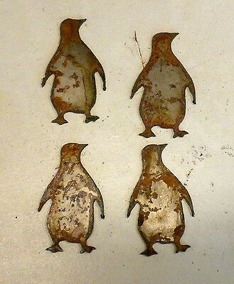 "Lot of 4 Penguin Bird Shapes 3"" Rusty Metal Vintage Ornament Craft Sign"
