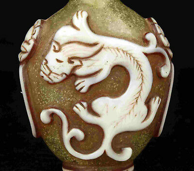 China Collectible Handwork Embossment Kirin Coloured Glaze Snuff Bottle