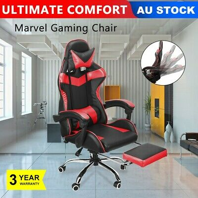 Red Computer Gaming Chair Office Racing Seat Footrest PU Leather Executive Seat