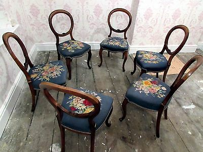 6 x Victorian Antique Walnut Spoon Back SIX Chairs English Blue Tapestry Flower