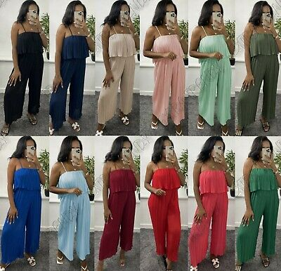 54691570721 Womens Ladies Chiffon Sleeveless Pleated Cami Strap All In One Jumpsuit  Dress