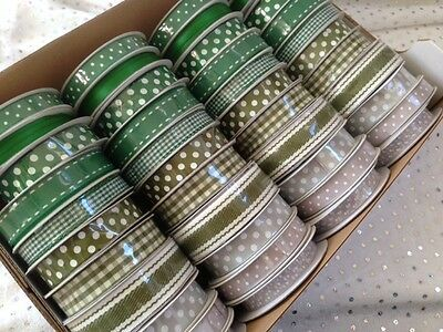 WINTER GREENS / SILVERS MINI seasonal Ribbon Reels 6-15 mm - 11 designs