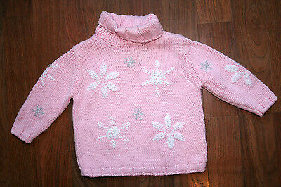 Girls 6 9 Mos Ugly KOALA KIDS Christmas Holiday Winter Sweater PINK SNOWFLAKES