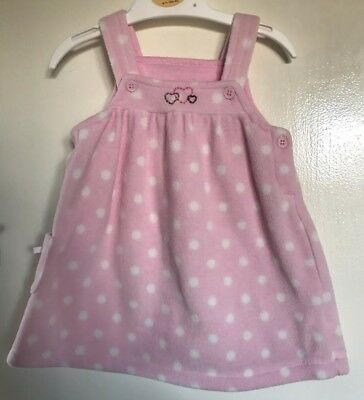 Matalan Baby Girls Pink Spotted Fleece Pinafore Dress. Age 3-6 Months
