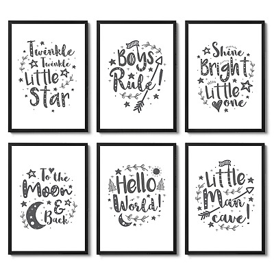 Grey Nursery Art Prints / Pictures For Baby Room / Girls or Boys Bedroom Decor