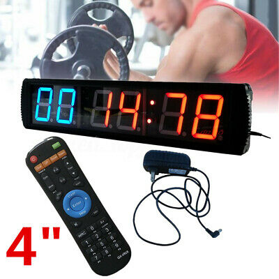 Giant Large 6 Digits Gym Fitness Crossfit Tabata Timer  LED Interval Wall Clock