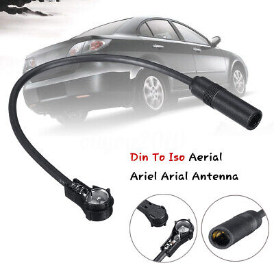 Car Radio Stereo Din To Iso Aerial Ariel Antenna Extension Adapter Cable Black